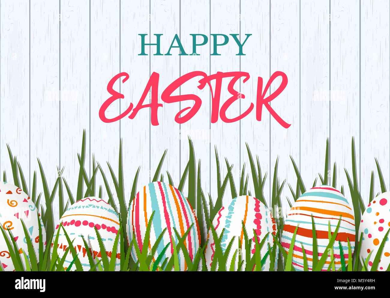 Gift whirls stock photos gift whirls stock images alamy happy easter easter colorful eggs in row with different simple colorful ornaments white wooden negle Gallery