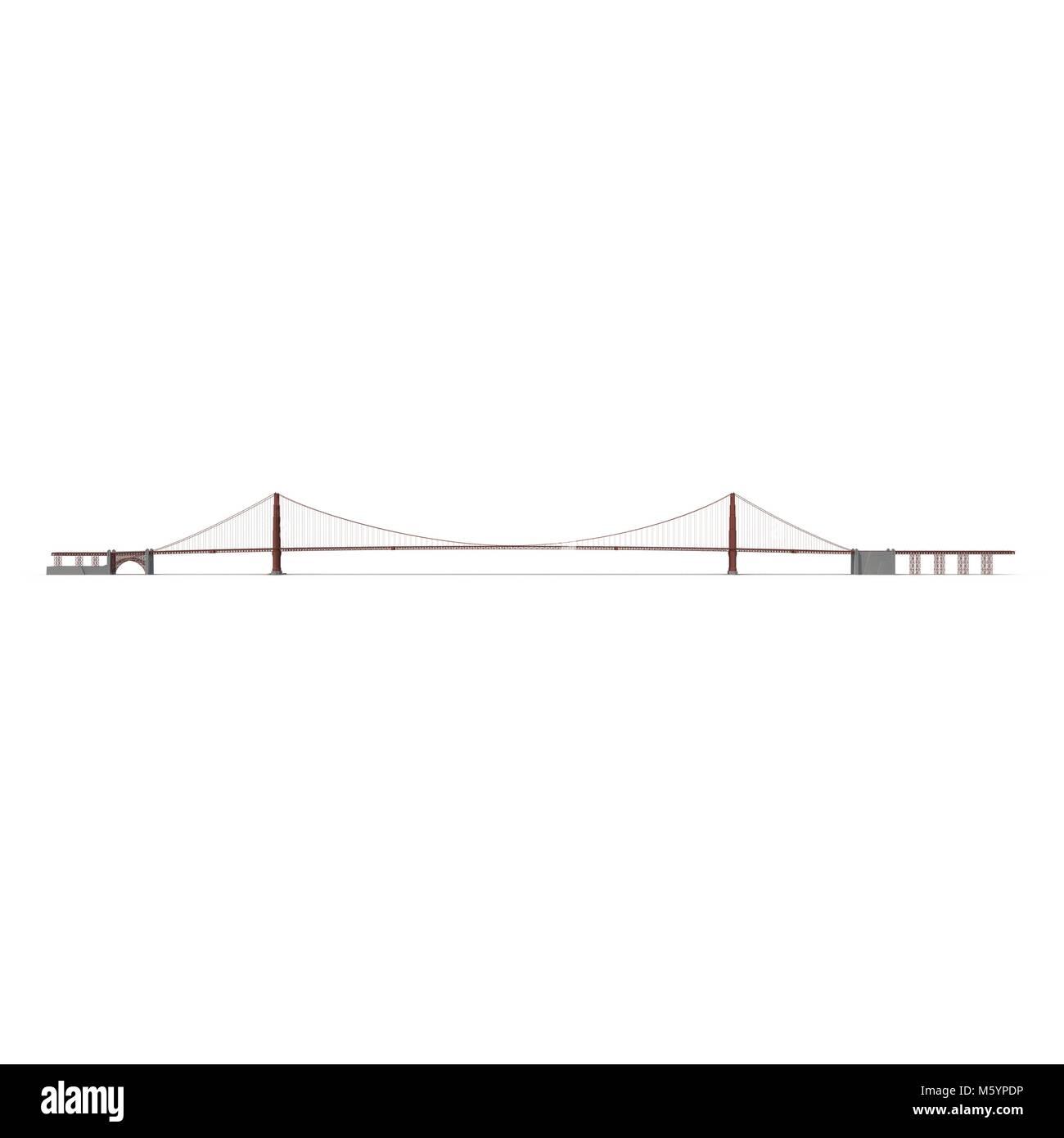 Golden Gate Bridge On White 3d Illustration Stock Photo 175787298 Diagram Of The
