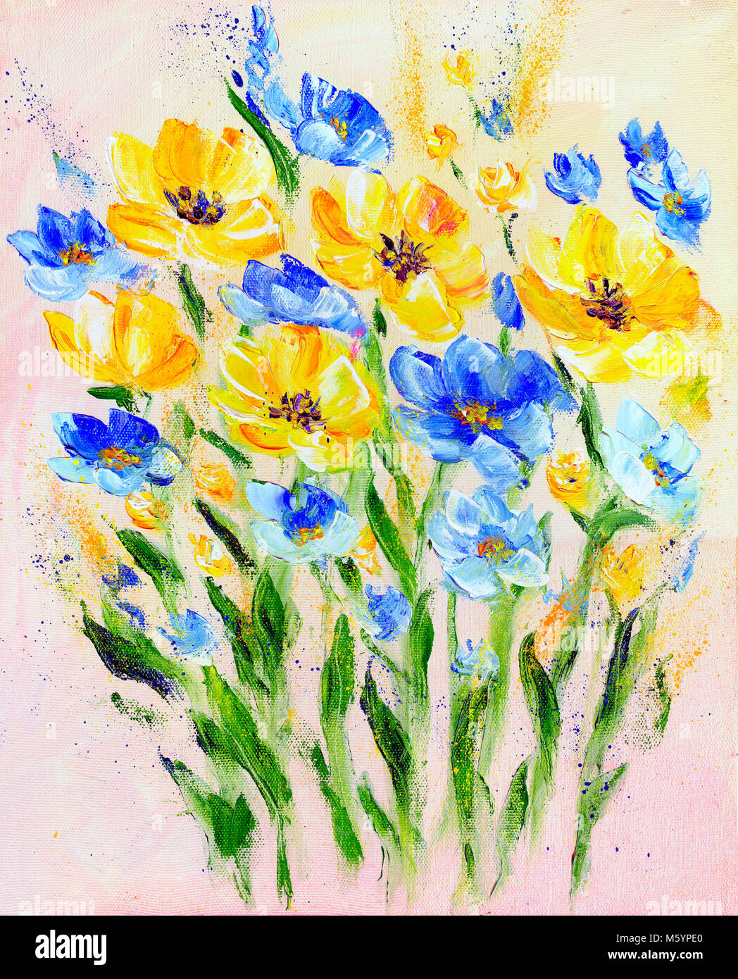 Hand Painted Modern Style Yellow And Blue Flowers Spring Flower