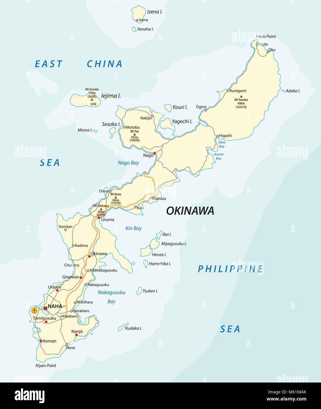 Detailed vector road map of Japanese island Okinawa, Japan Stock ...