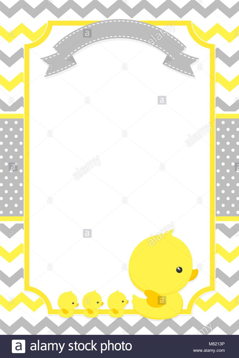 baby shower invitation with cute duck mom and baby ducks on chevron ...