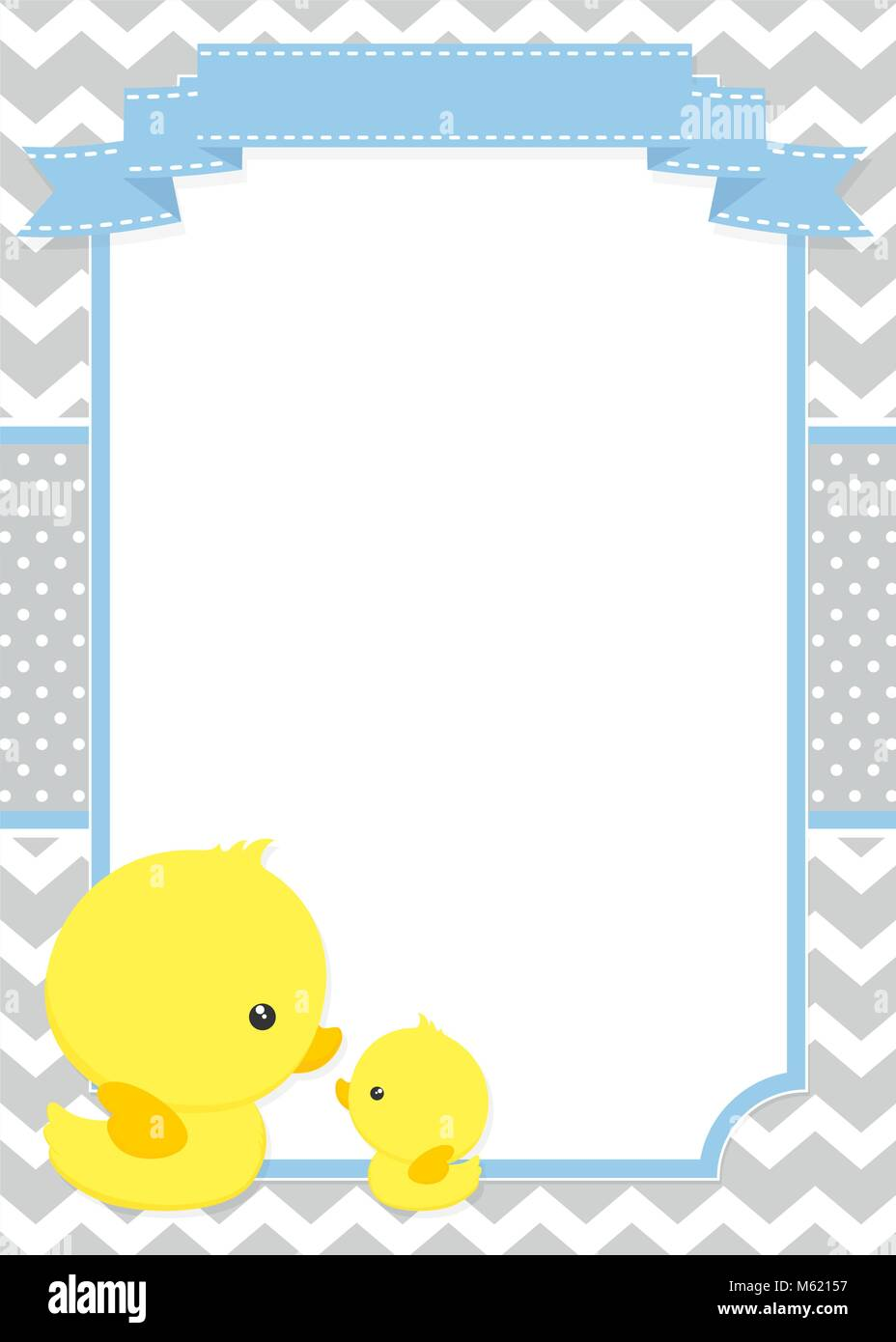 Baby shower invitation with cute duck mom and baby ducky on chevron baby shower invitation with cute duck mom and baby ducky on chevron pattern and polka dots background stopboris Image collections