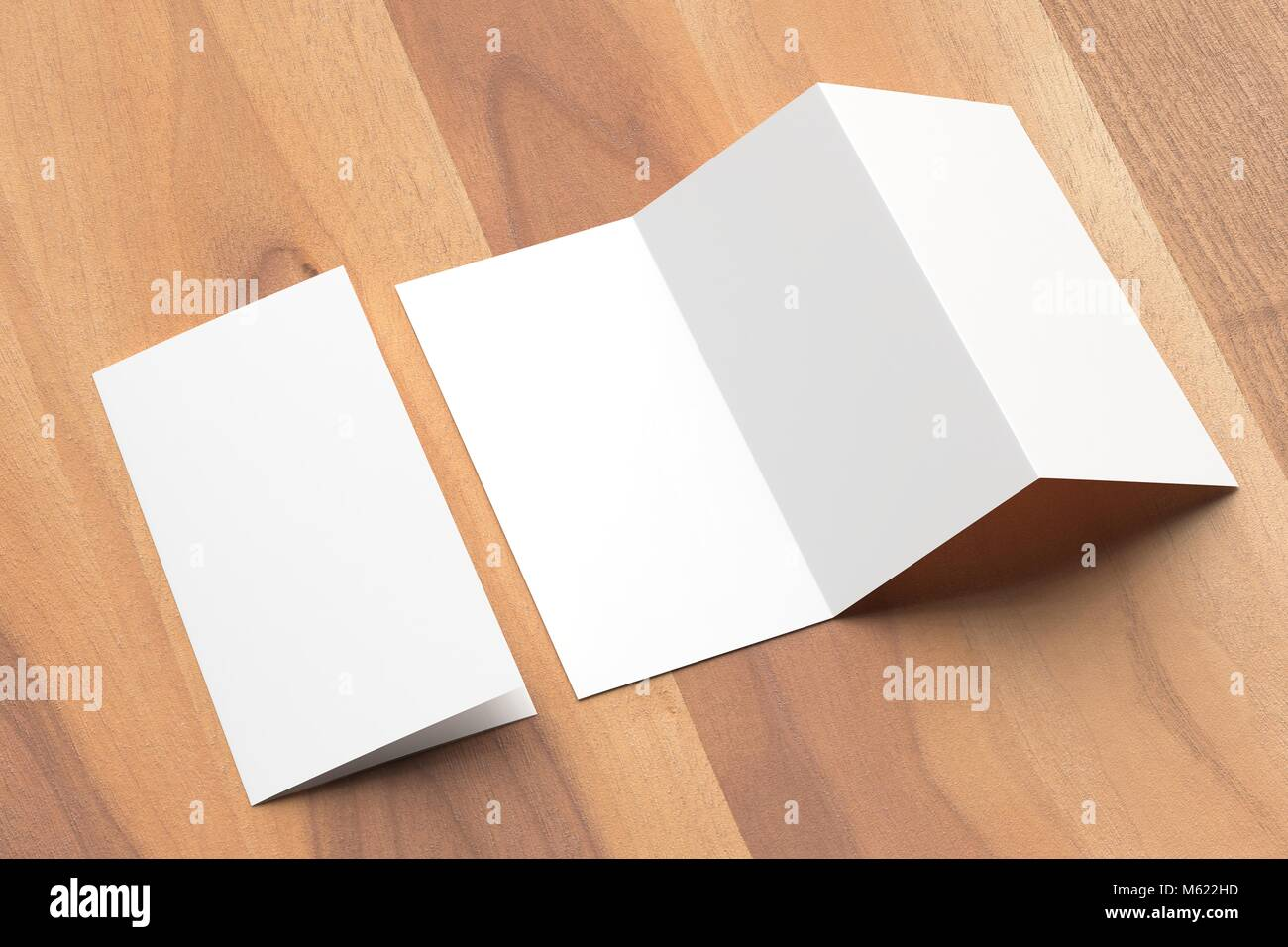 thrifold three fold brochure mock up on wooden background 3d