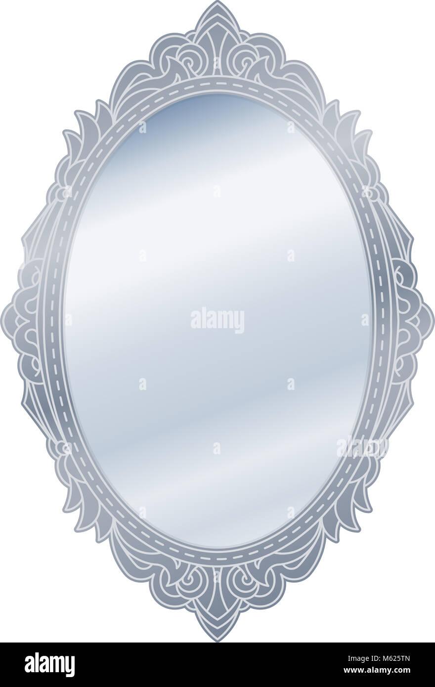Antique oval frame ornate Gold Mirror In Retro Vintage Oval Ornate Silver Border Frame Vector Illustration Alamy Mirror In Retro Vintage Oval Ornate Silver Border Frame Vector