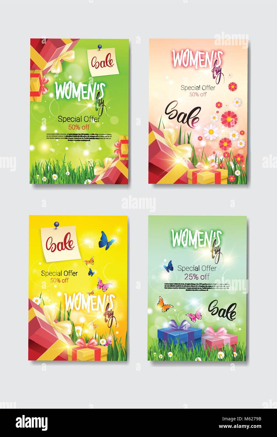 Set Of Discount Greeting Cards International Women Day Sale