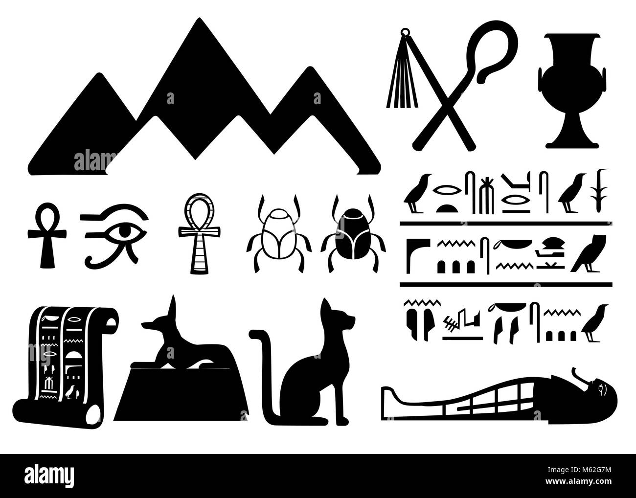 Ancient egyptian clothes stock photos ancient egyptian clothes black silhouettes ancient egyptian symbols and decoration egypt flat icons vector illustration isolated on white biocorpaavc