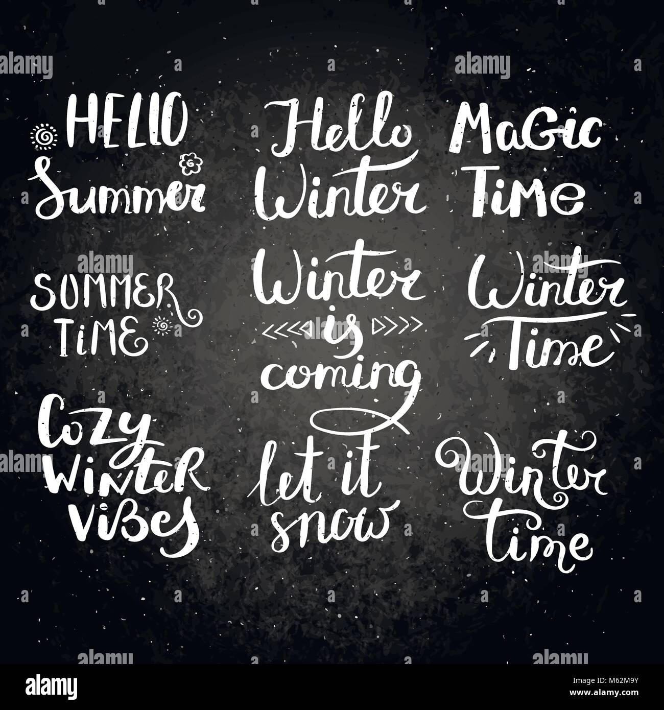 Season Greetings Set Of Hand Drawn Vector Lettering Phrases Modern