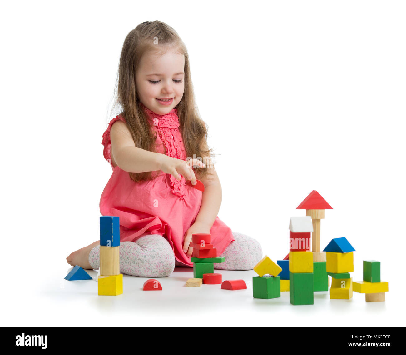 Kid Playing With Wooden Block Toys Toddler Baby Girl Building