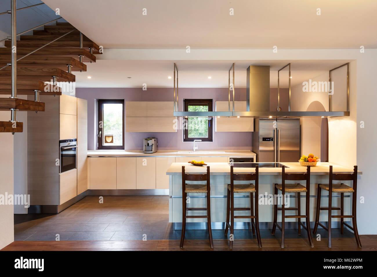 Beautiful modern loft view of the kitchen