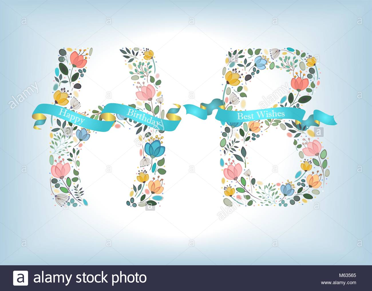 happy birthday floral letters h and b watercolor graceful flowers and plants blue ribbons with golden backs and white texts blue background vecto