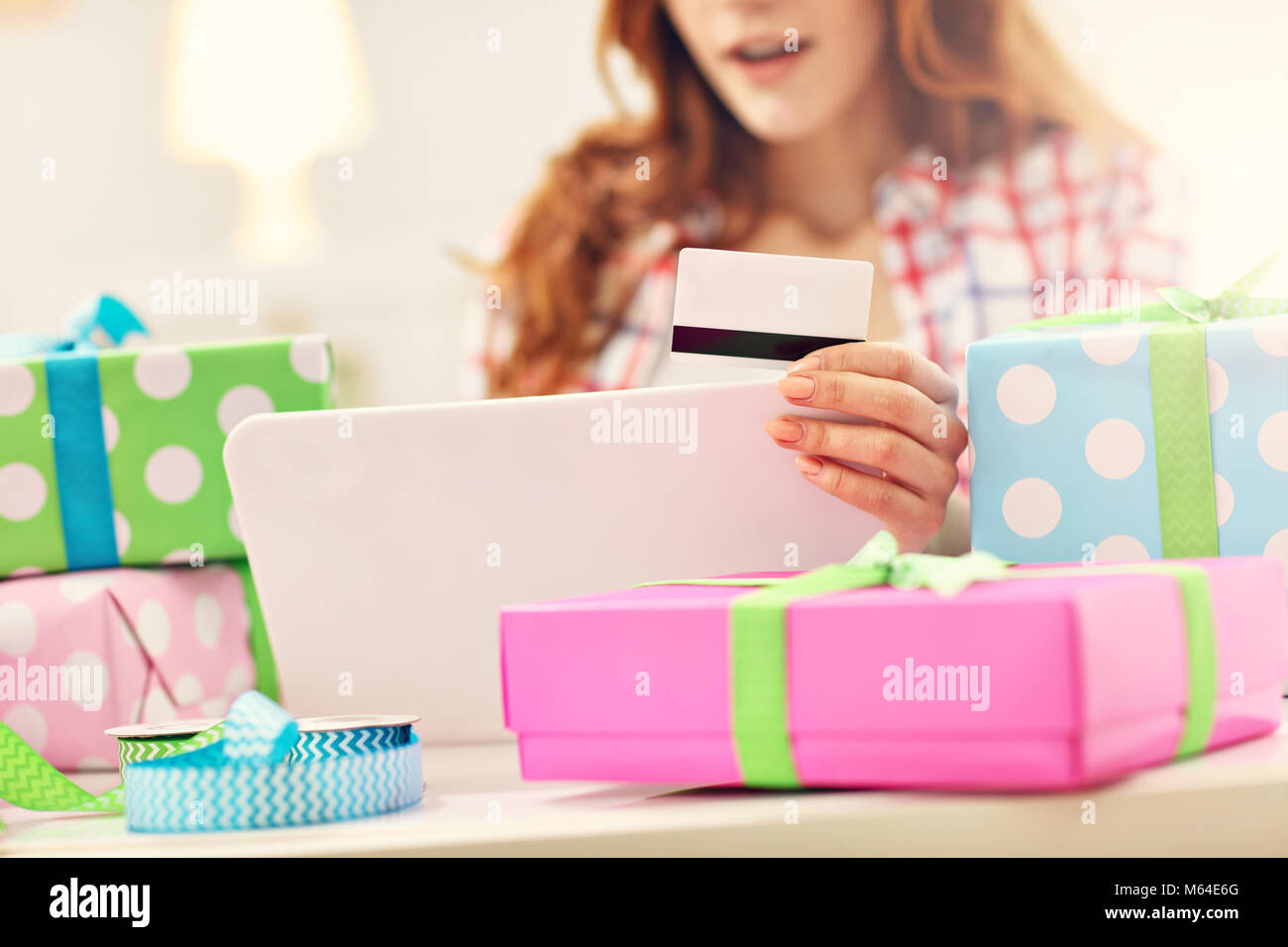 Attractive woman buying easter gifts online stock photo 175890584 attractive woman buying easter gifts online negle Gallery
