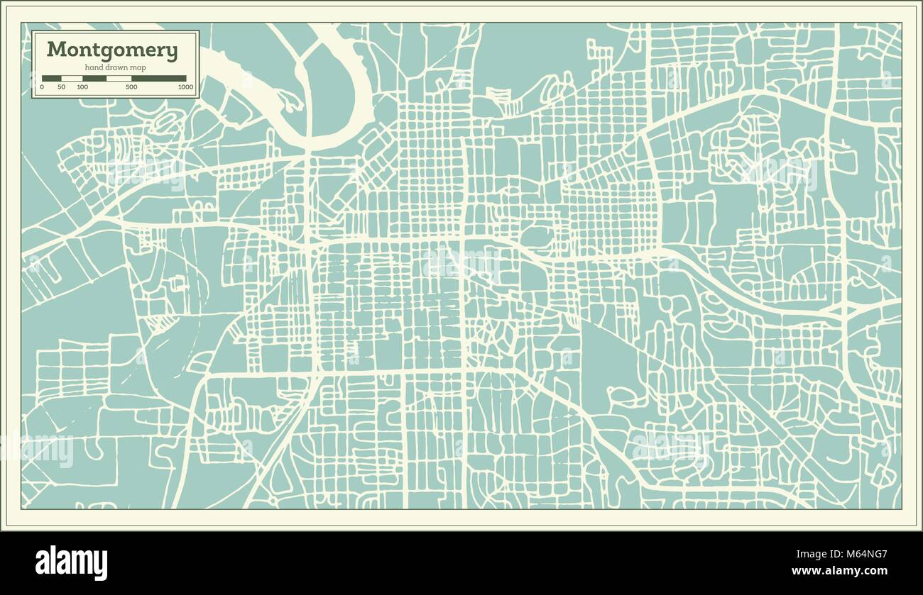 Montgomery Alabama USA City Map in Retro Style. Outline Map. Vector ...