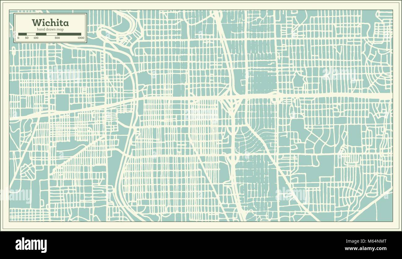 Wichita Kansas Usa City Map In Retro Style Outline Map Vector