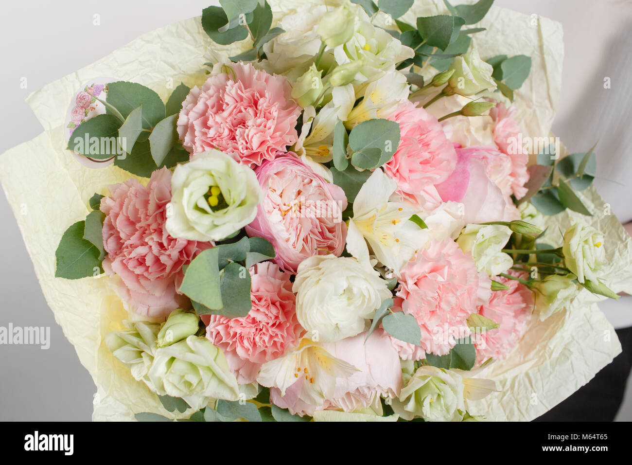 Beautiful bouquet made of different flowers with in woman hand stock beautiful bouquet made of different flowers with in woman hand colorful color mix flower izmirmasajfo