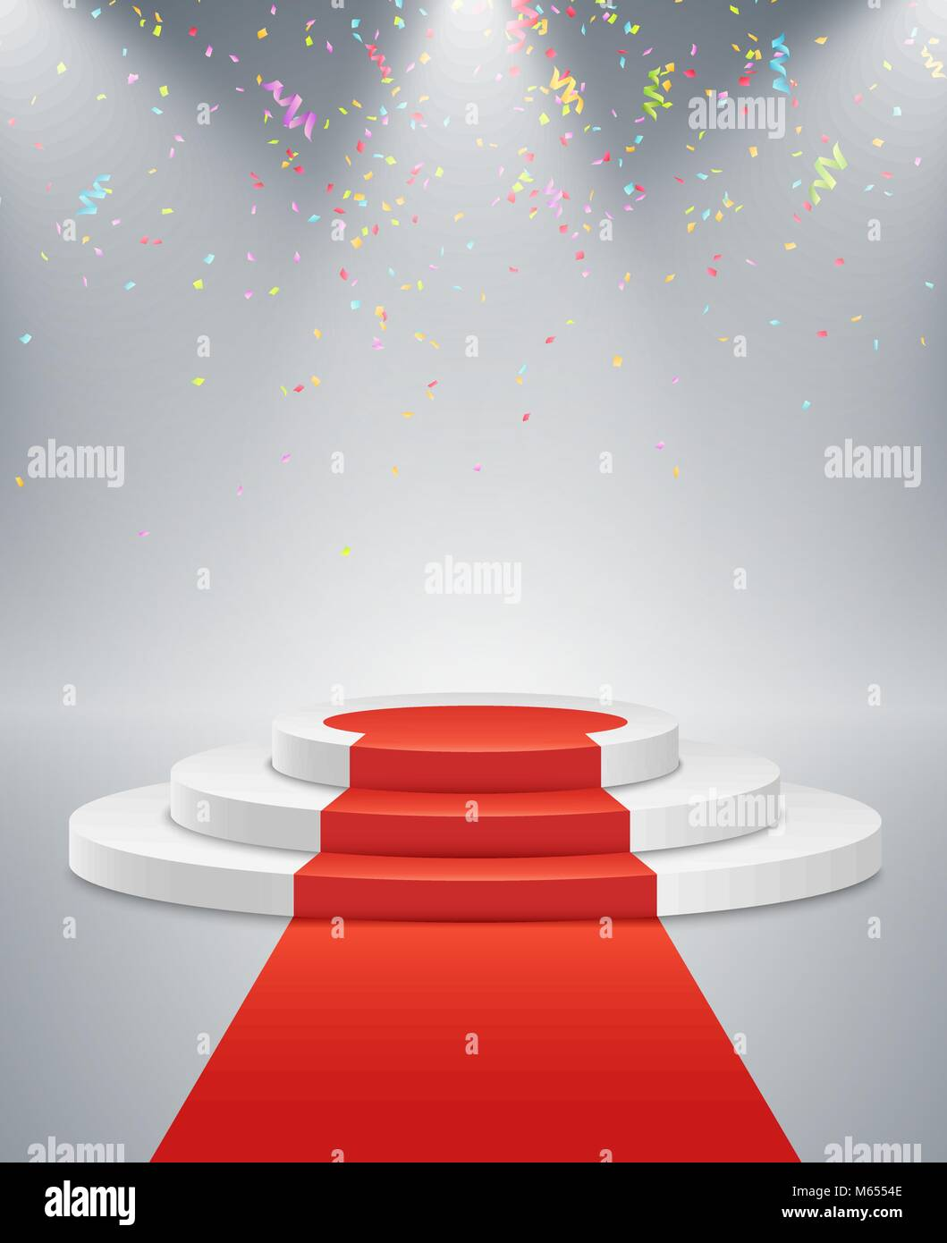 White Podium And Red Road On A Light Background. The Winner Is In First  Place. Bright White Light From Searchlights. Flying Confetti. Light  Pedestal.