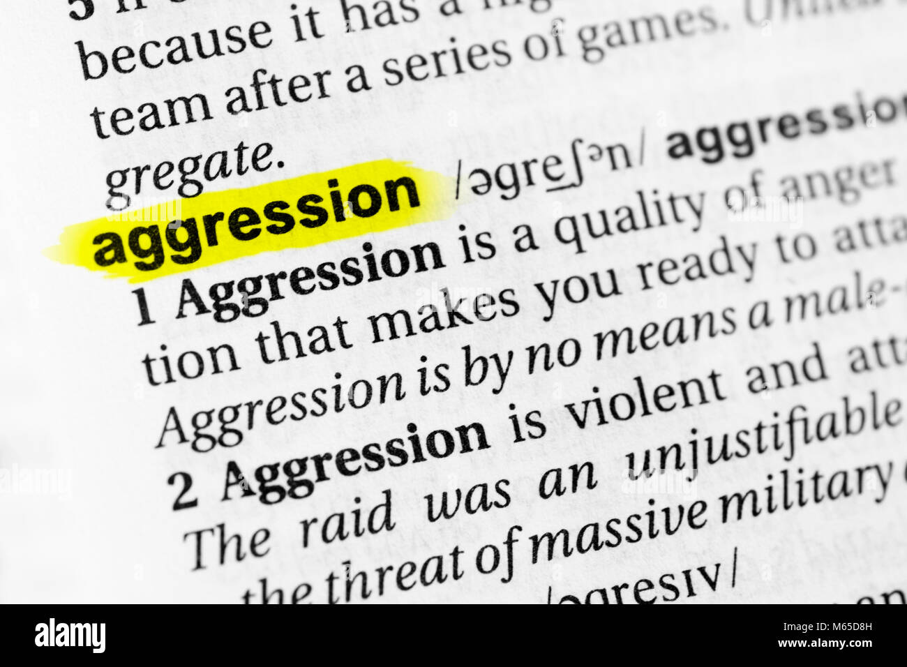 "highlighted english word ""aggression"" and its definition in the"