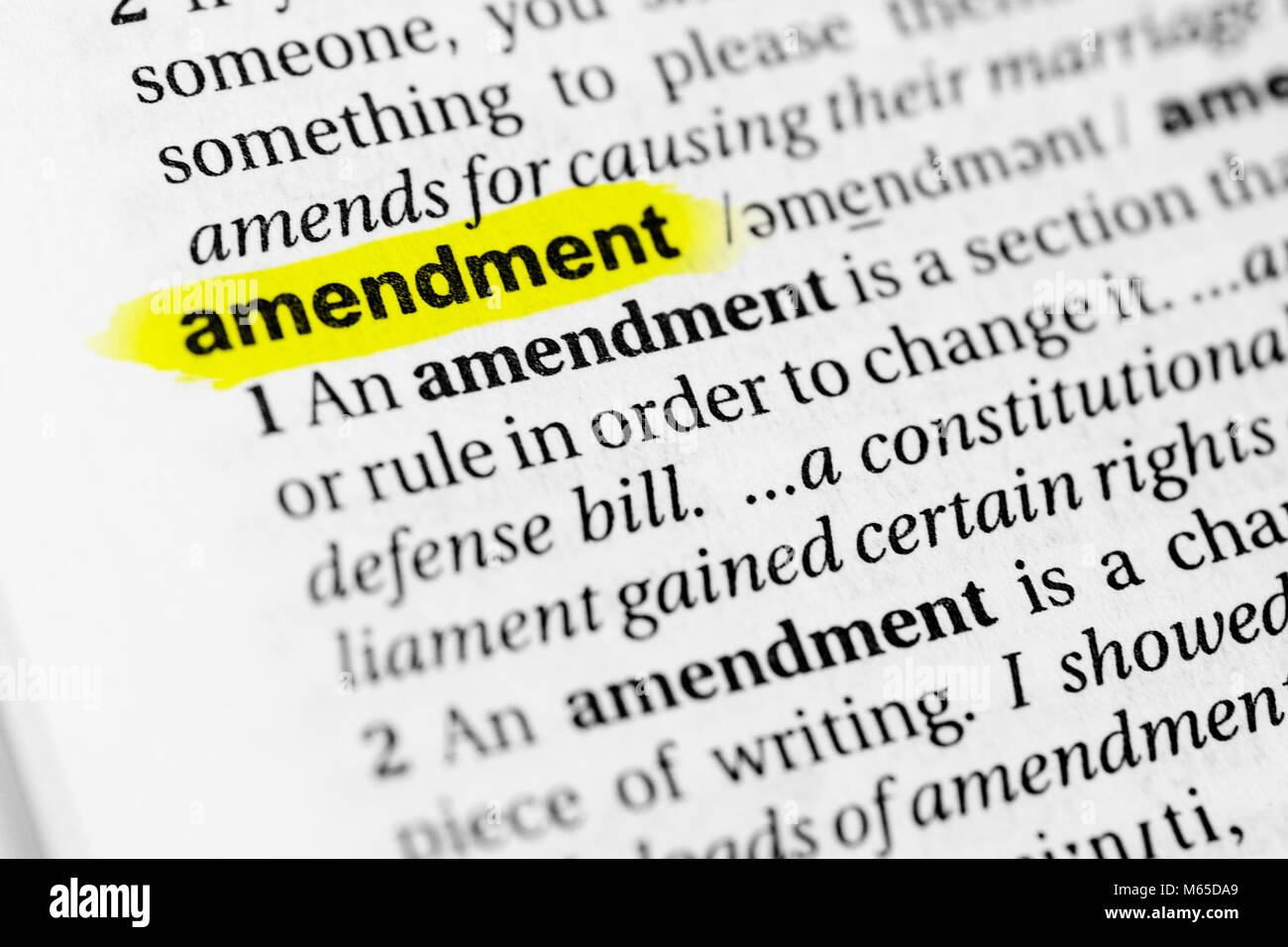 """highlighted english word """"amendment"""" and its definition in the stock"""