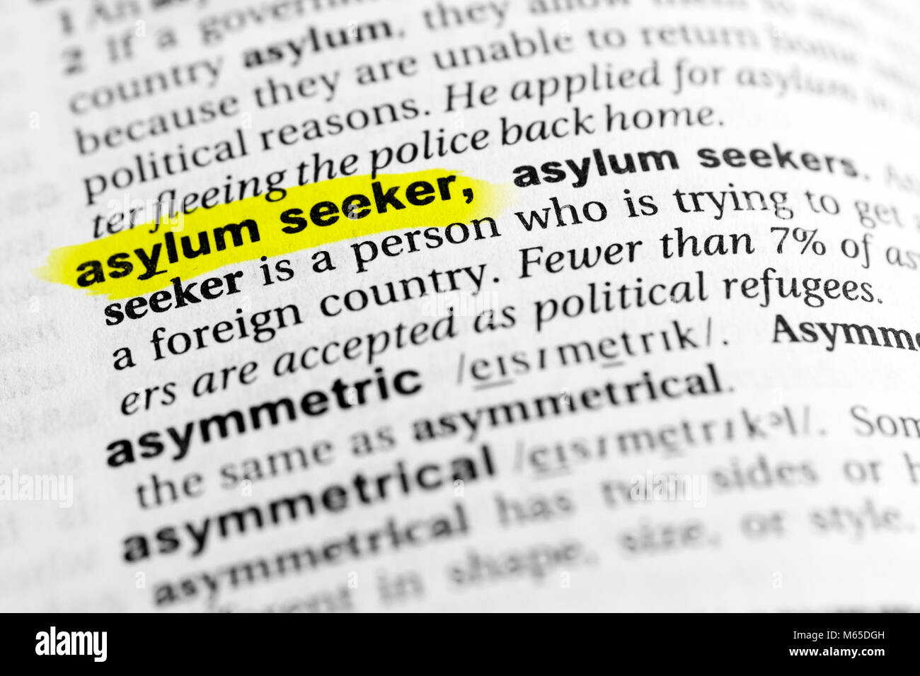 "highlighted english word ""asylum seeker"" and its definition in the"