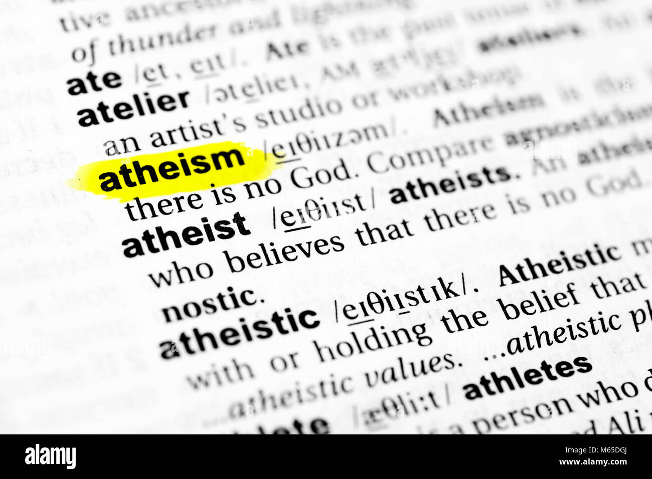 "highlighted english word ""atheism"" and its definition in the stock"