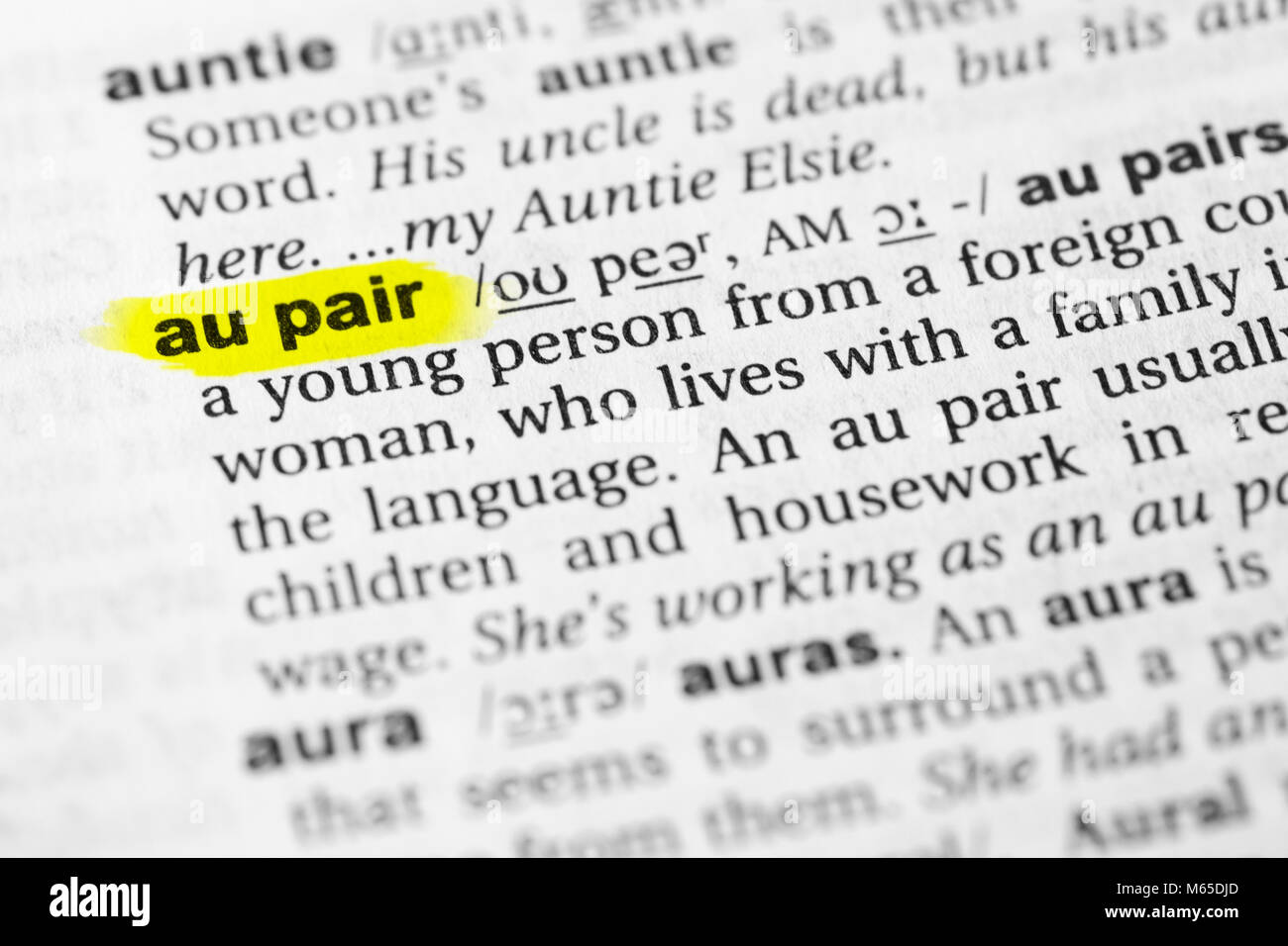 """highlighted english word """"au pair"""" and its definition in the stock"""