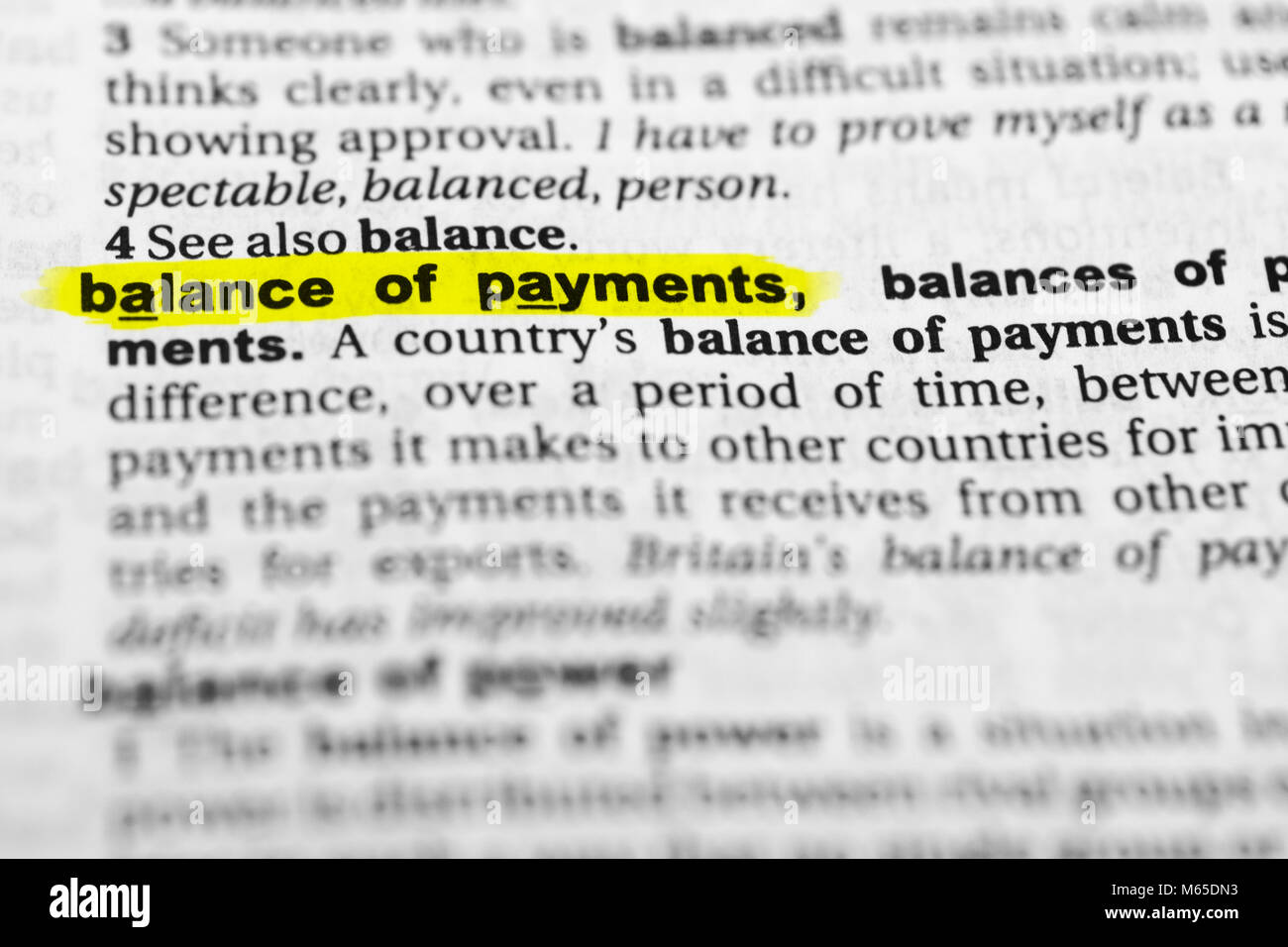 "highlighted english word ""balance of payments"" and its definition in"