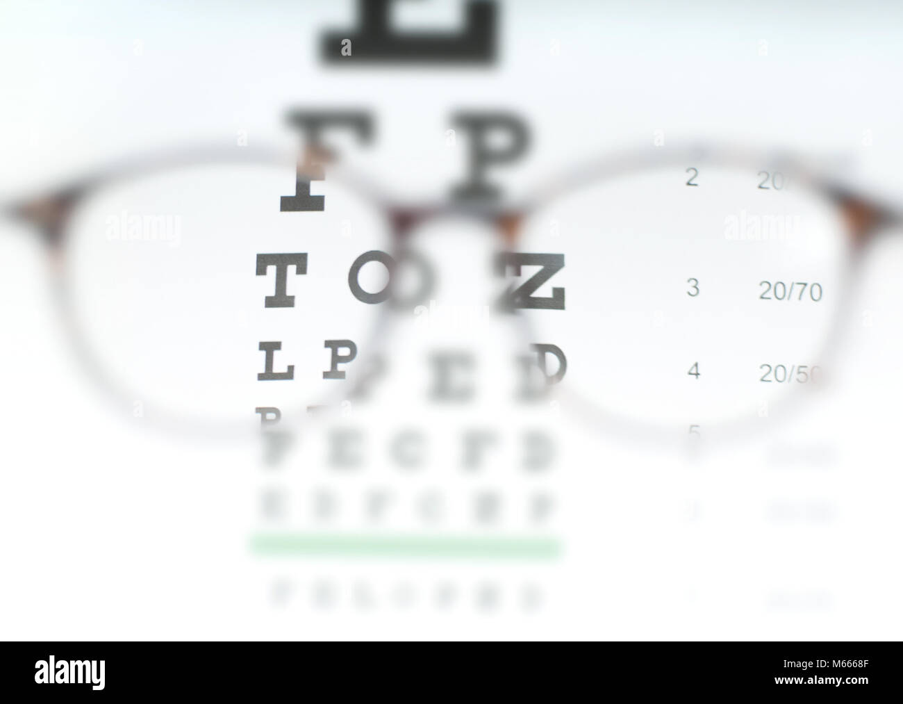 Eye Vision Test Chart Seen Through Eye Glasses Prescription Glasses