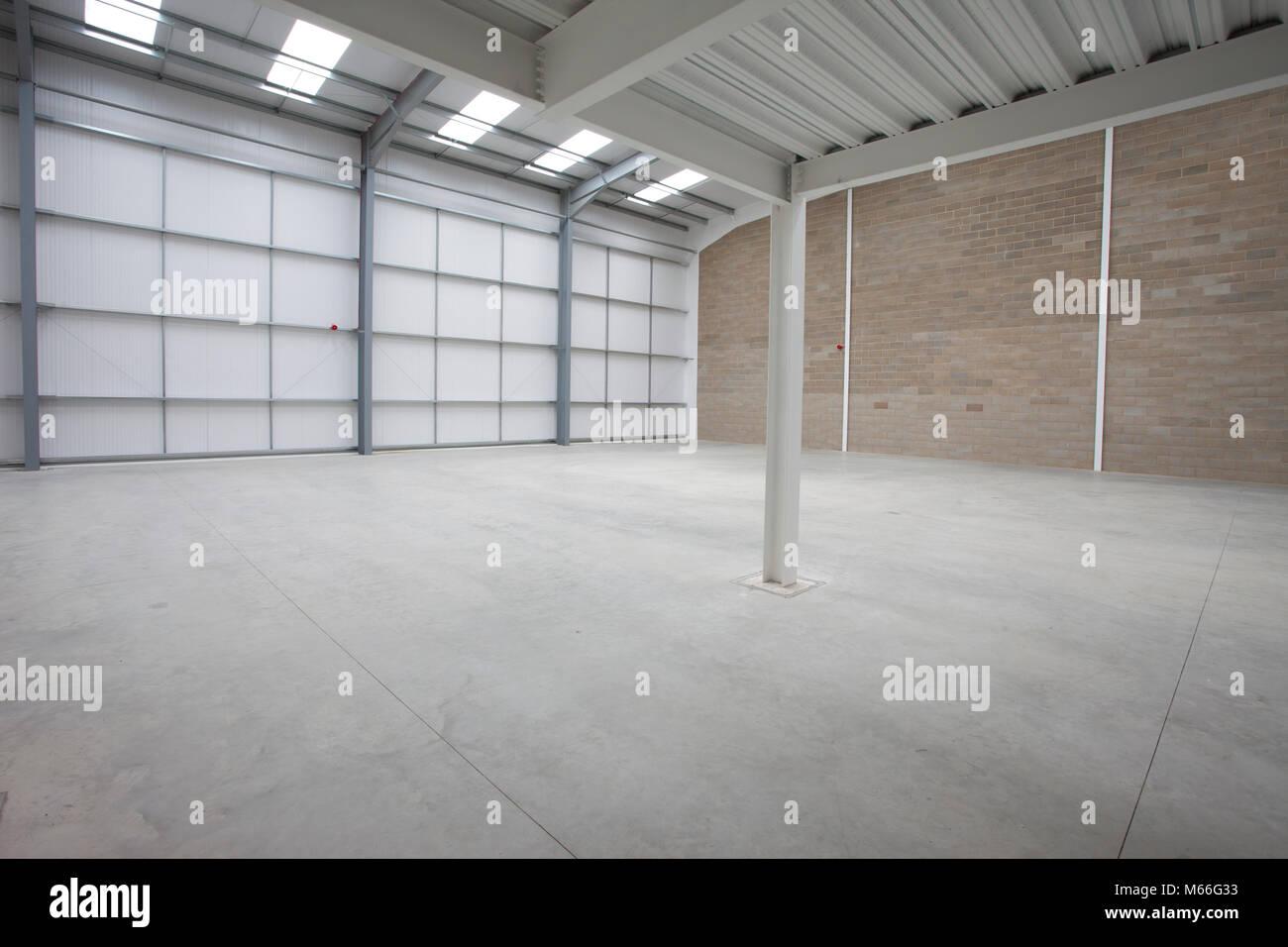 warehouse interior new build modern construction. Warehousing steel ...