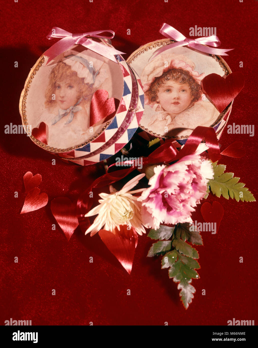 Valentines Day Boxes Presents Portraits Little Girls Flowers Hearts