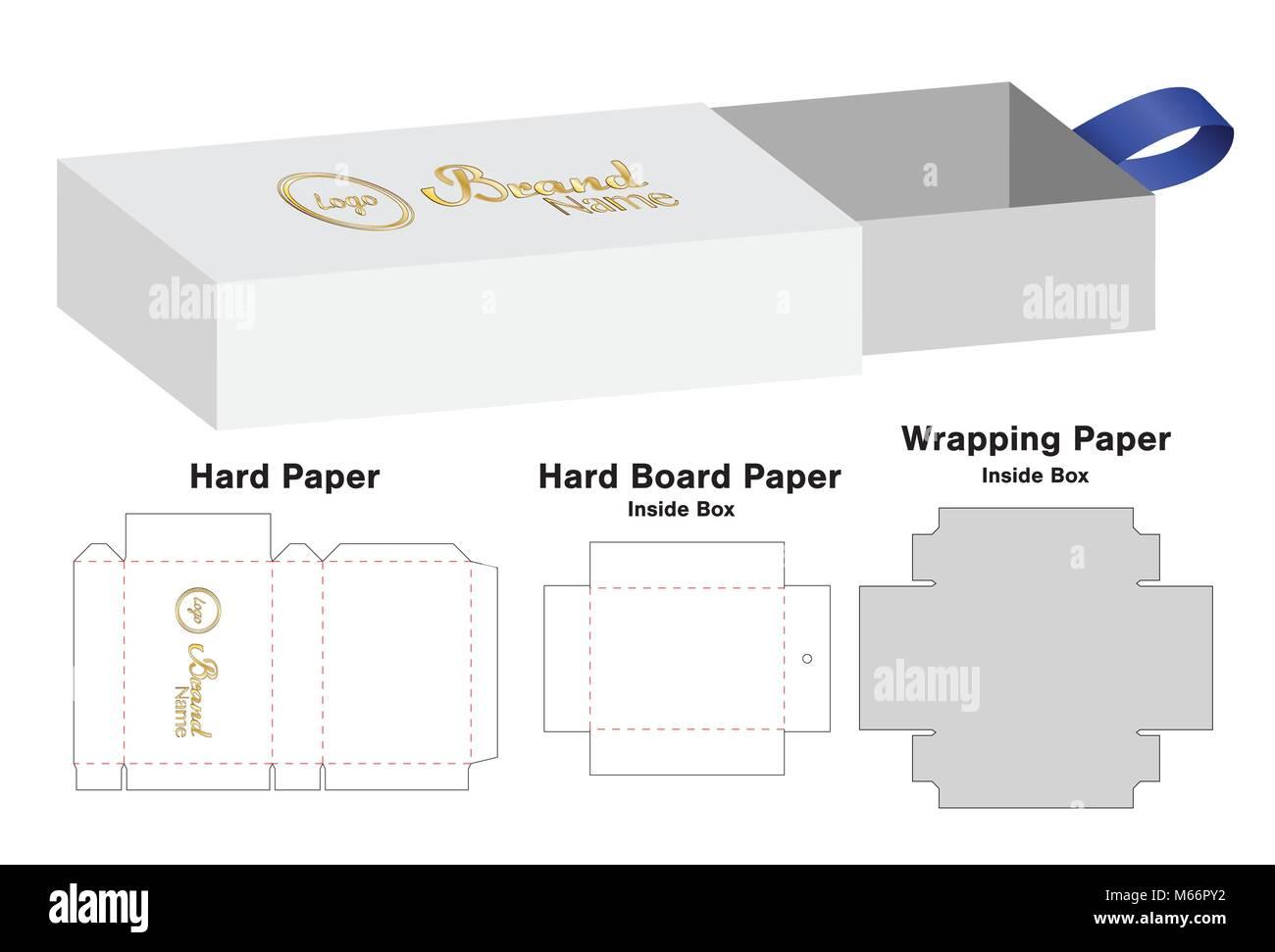 box packaging die cut template design 3d mock up stock vector art