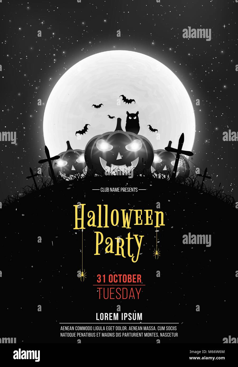 Black And White Retro Background For Halloween Party Cartoon Stock