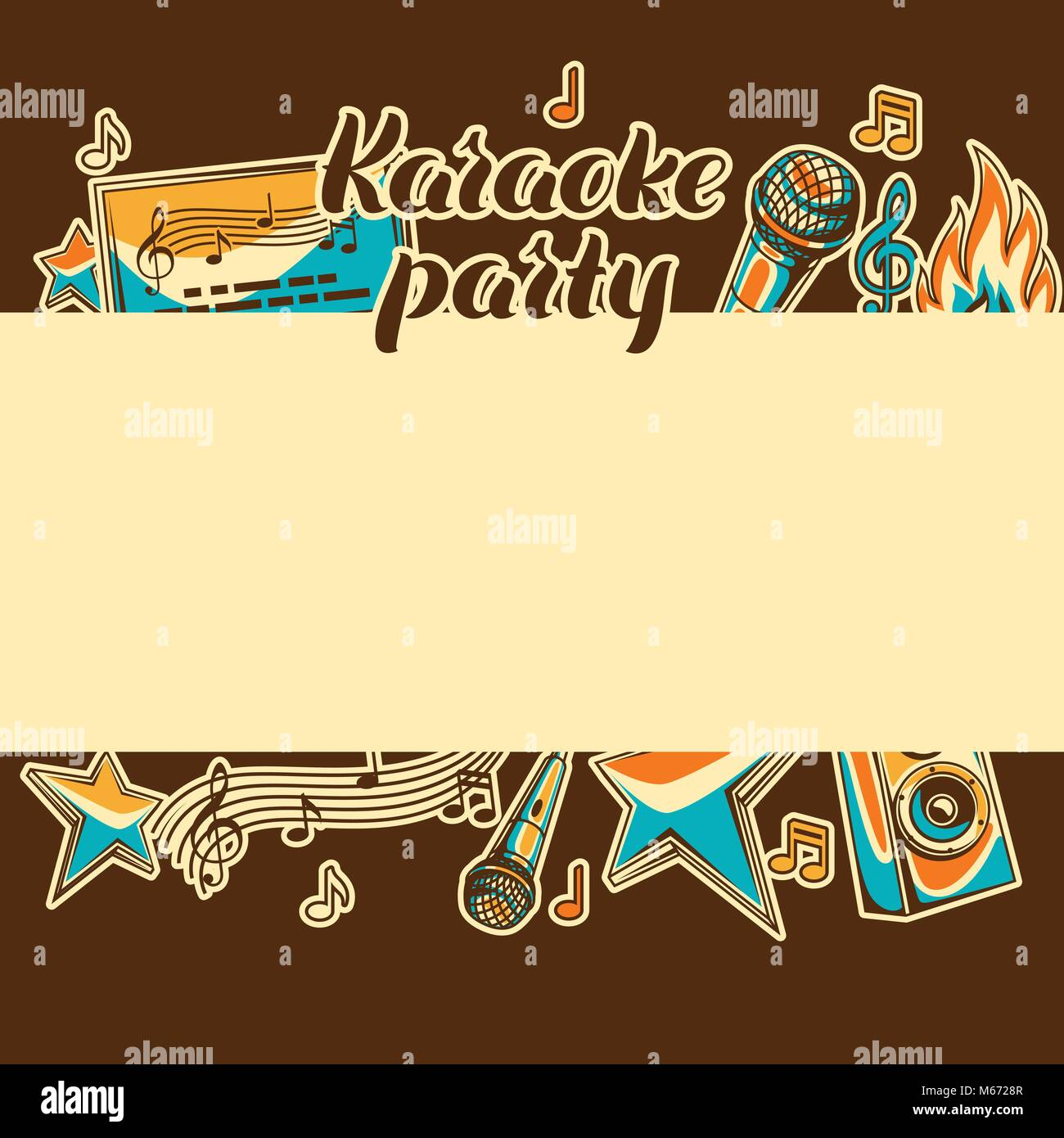 Karaoke Party Card Music Event Background Illustration In Retro