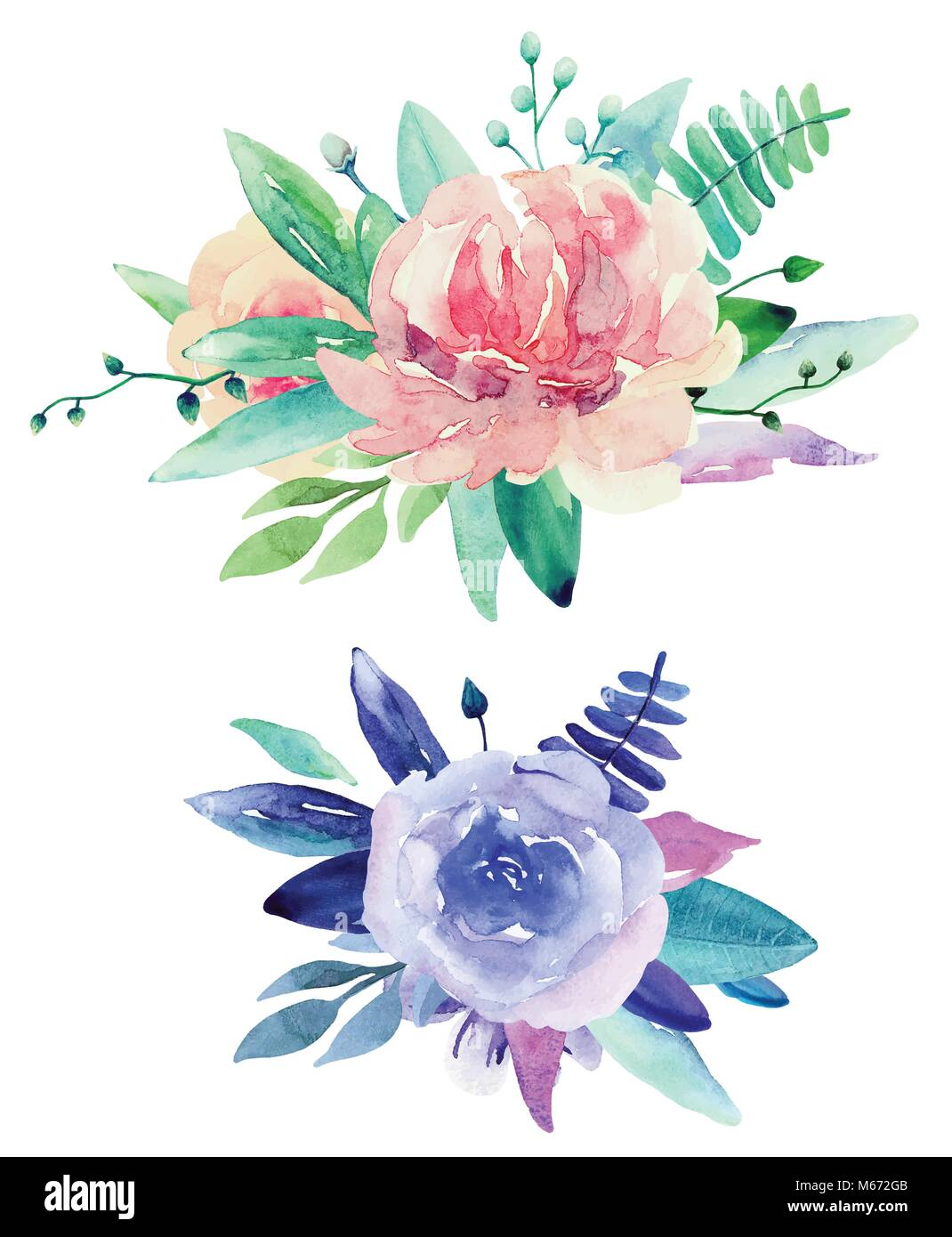 Watercolor floral bouquets vector clip art pink and purple flowers watercolor floral bouquets vector clip art pink and purple flowers clipart izmirmasajfo