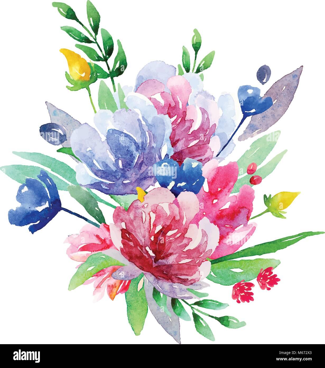 Watercolor floral bouquet vector clip art. Flowers illustration ...