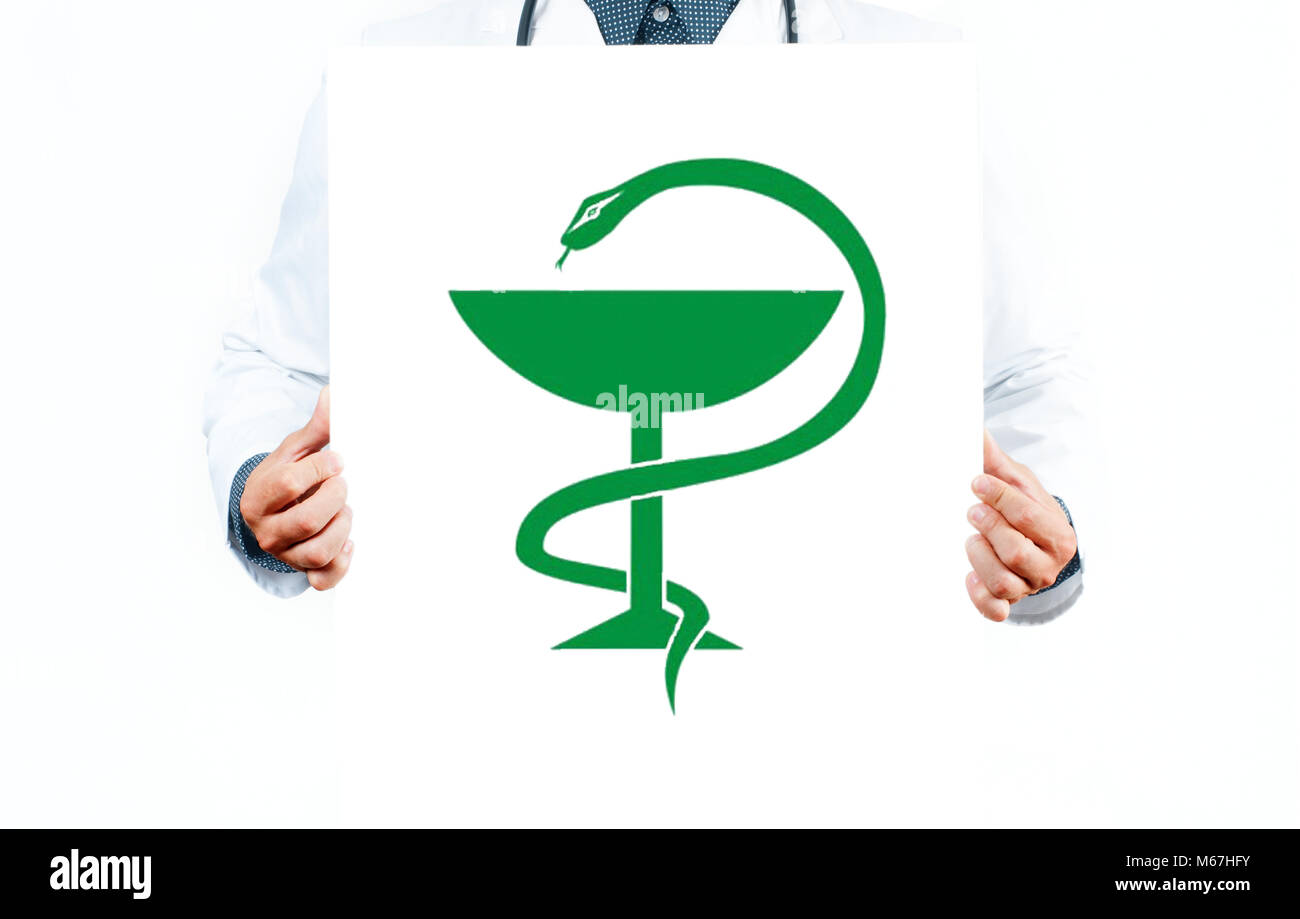 Doctor With Caduceus Medical Symbol Vector Medical Snake With A Cup