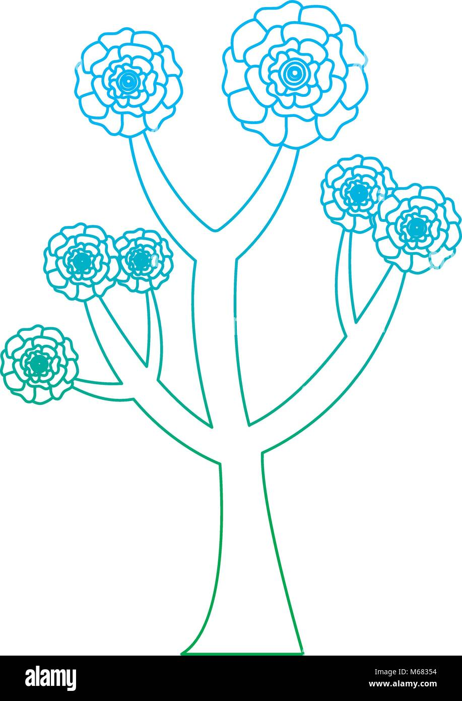 Beautiful tree with flowers carnation decoration vector illustration beautiful tree with flowers carnation decoration vector illustration degrade line color design ccuart Gallery