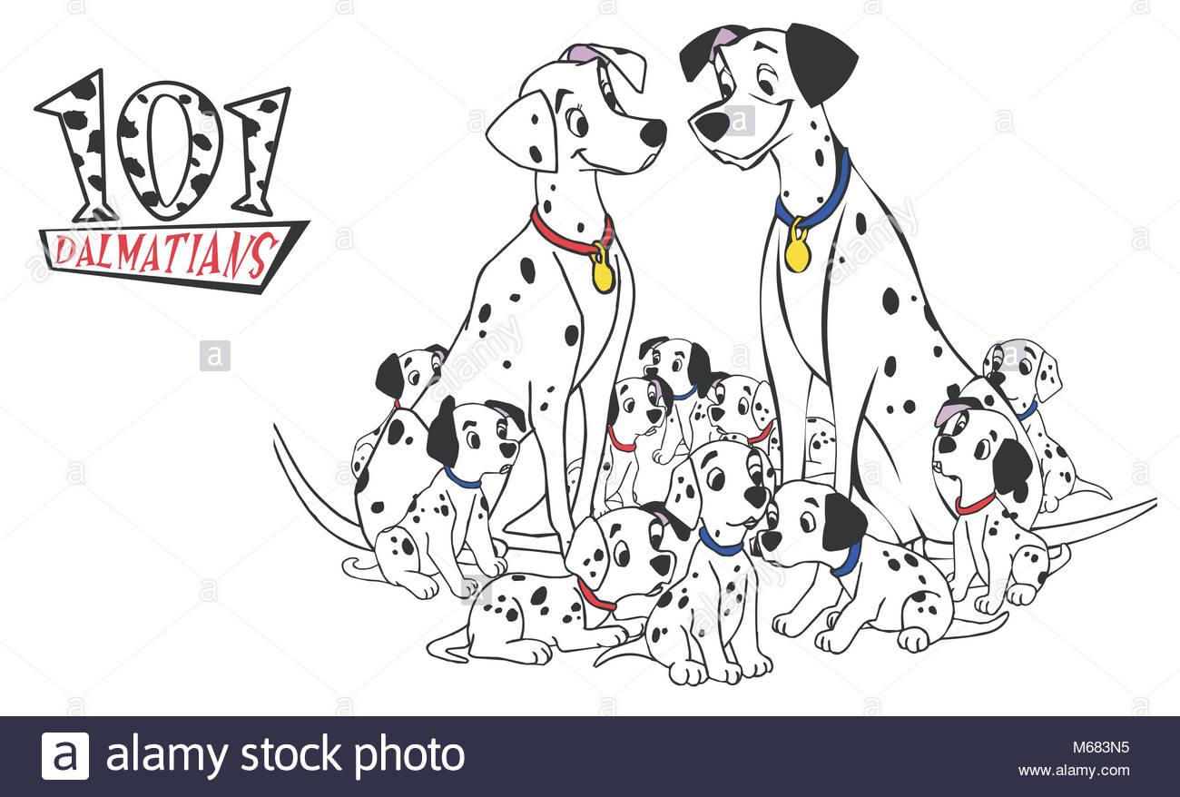 101 dalmatians dog illustration cartoon puppies stock photo