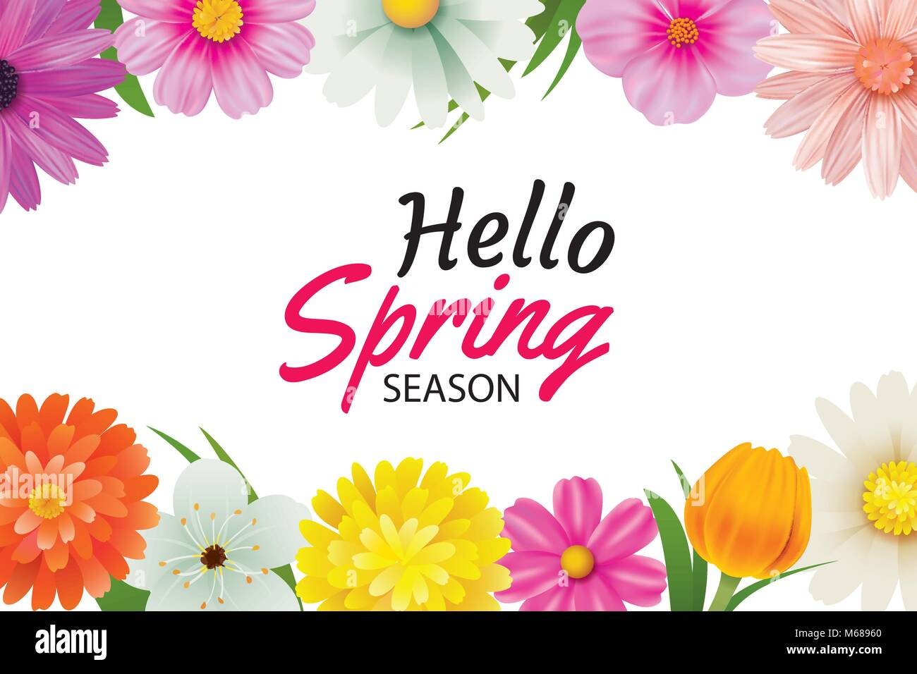 Hello spring season greeting card with colorful flower frame stock hello spring season greeting card with colorful flower frame background template can be use voucher wallpaperflyers invitation posters brochure m4hsunfo
