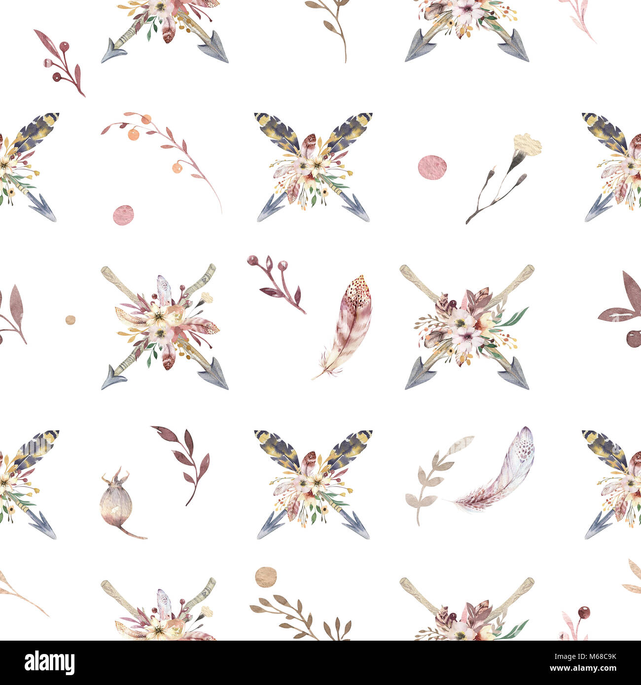 boho seamless watercolor pattern of arrows and wild flowers leaves