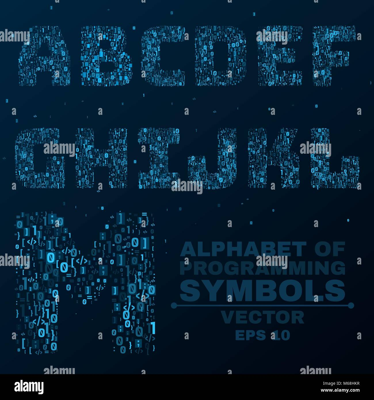 Alphabet From The Symbols Of The Program Code Programming In Design