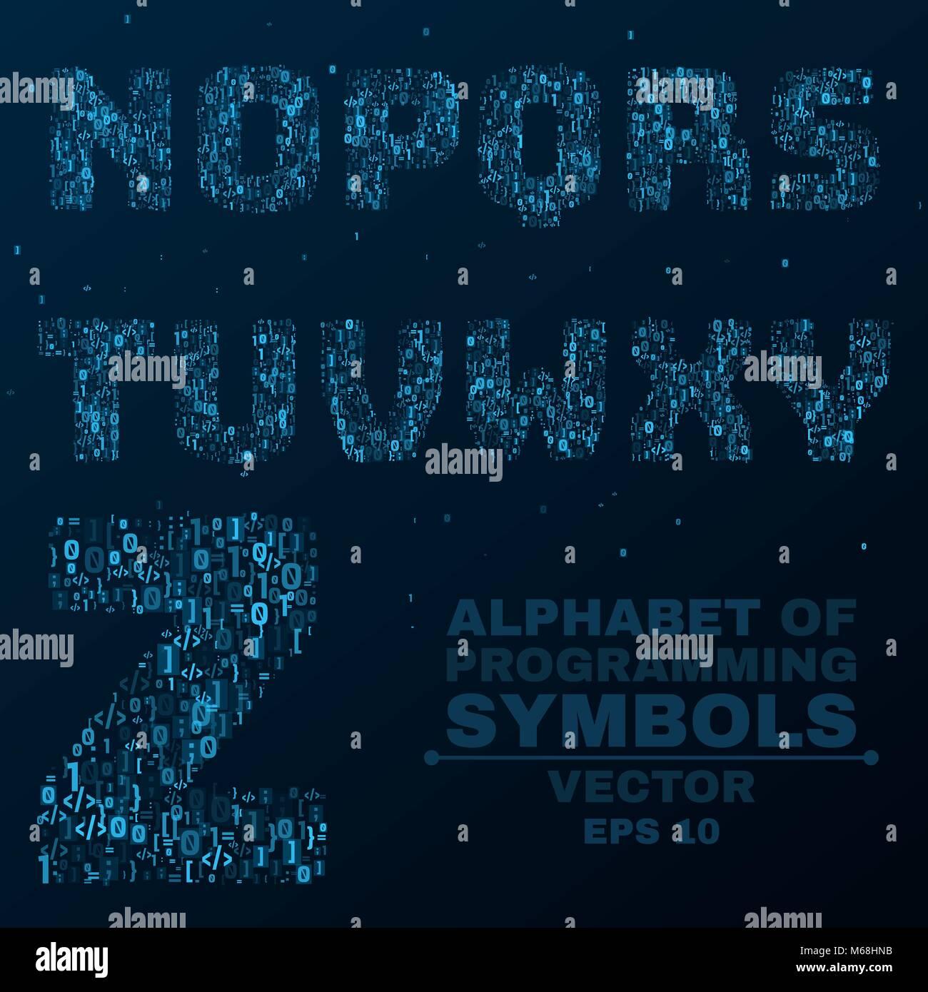 Alphabet from the symbols of the program code programming in alphabet from the symbols of the program code programming in design glowing letters are blue n o p q vector illustration buycottarizona Choice Image