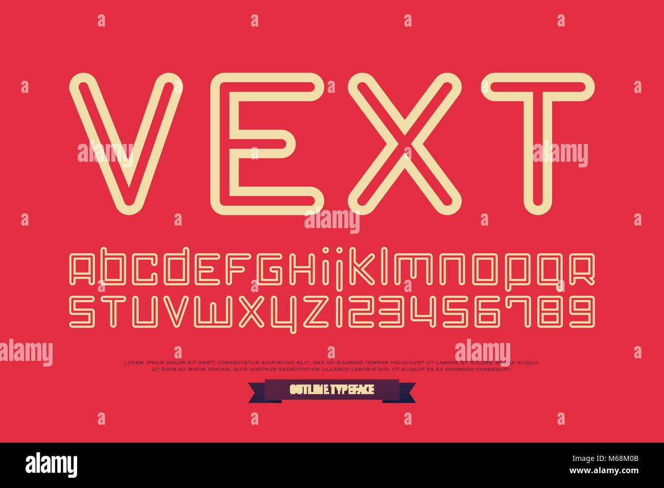 Outline style alphabet letters and numbers vector contour font outline style alphabet letters and numbers vector contour font type design contemporary lettering symbols stylish thin line typesetting template buycottarizona Gallery
