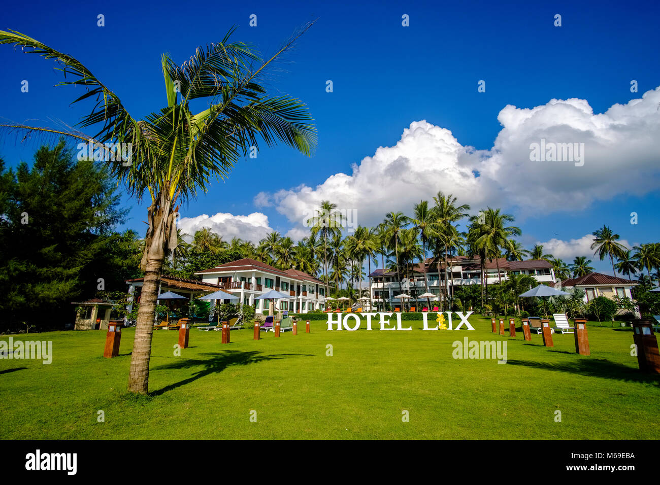 The green garden of Hotel Lux with palm trees is located close to ...