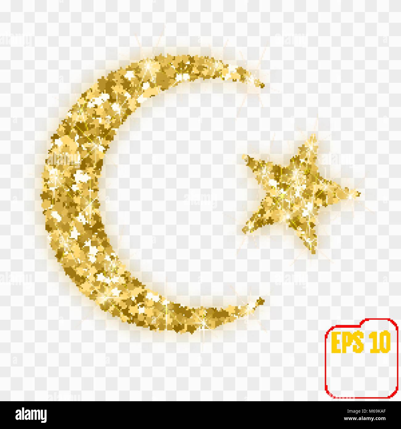 Star and crescent moon islam symbol gold stars confetti concept star and crescent moon islam symbol gold stars confetti concept vector illustration for biocorpaavc Gallery