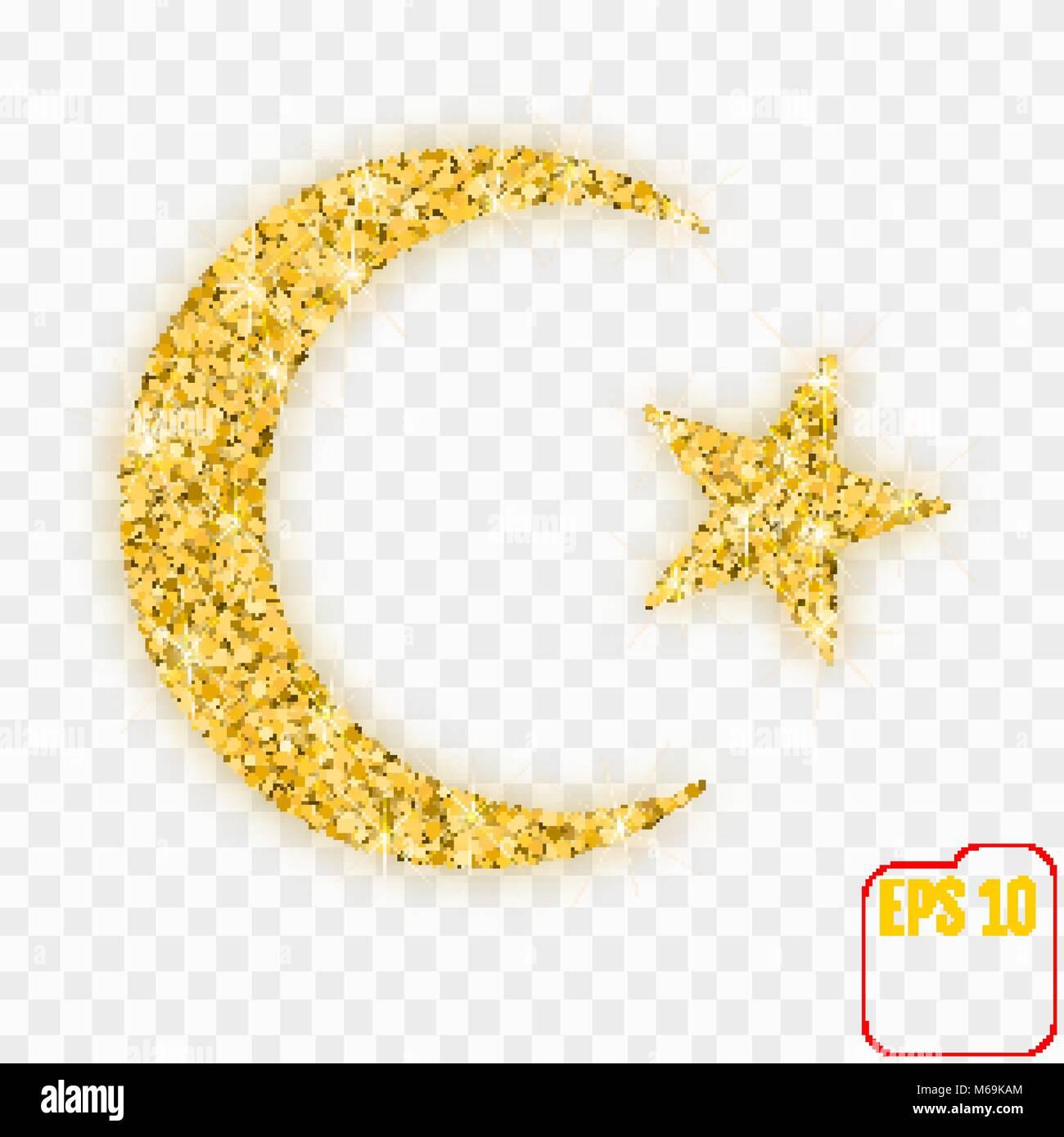 Star And Crescent Moon Islam Symbol Gold Confetti Concept Vector