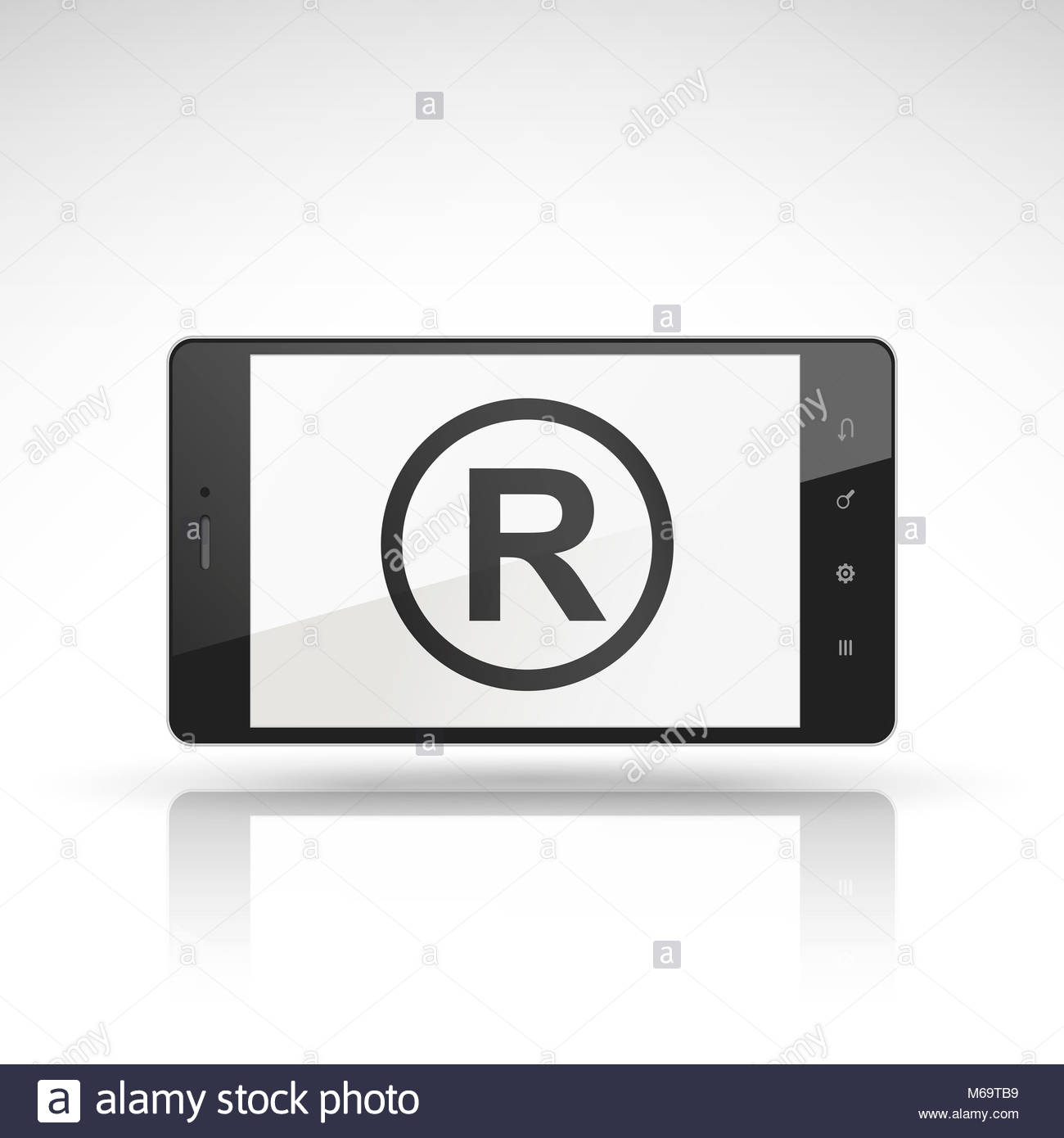 Registered trademark symbol stock photos registered trademark the registered trademark symbol on mobile phone isolated on white stock image biocorpaavc Choice Image
