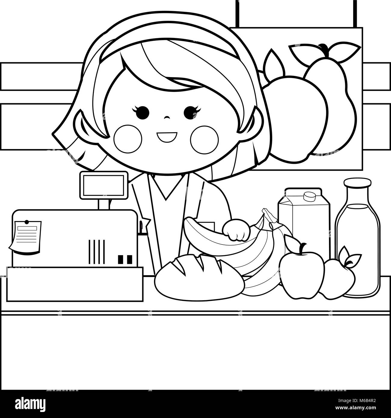 Grocery store employee at the counter. Black and white coloring book ...