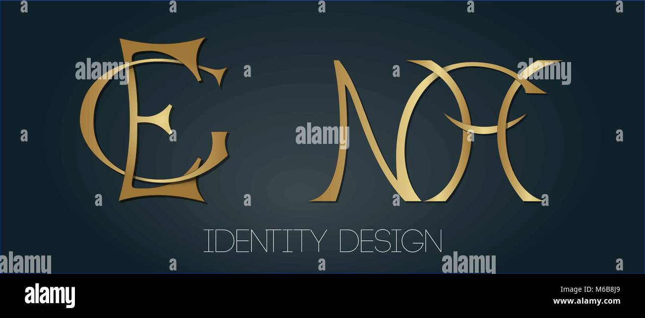 set of stylish monograms for luxury logo design letters ge and nh