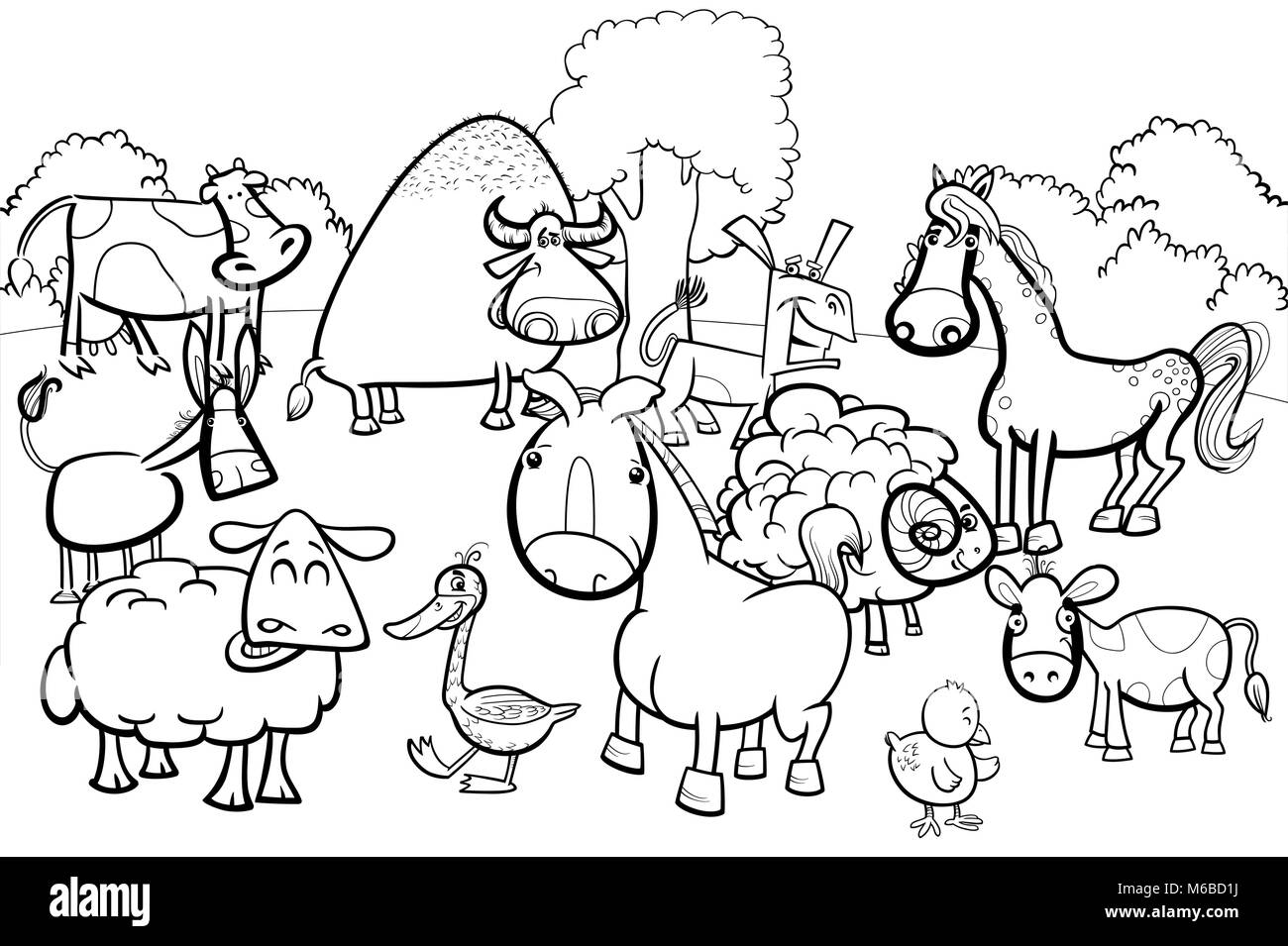 Black And White Cartoon Illustration Of Cute Farm Animal Characters
