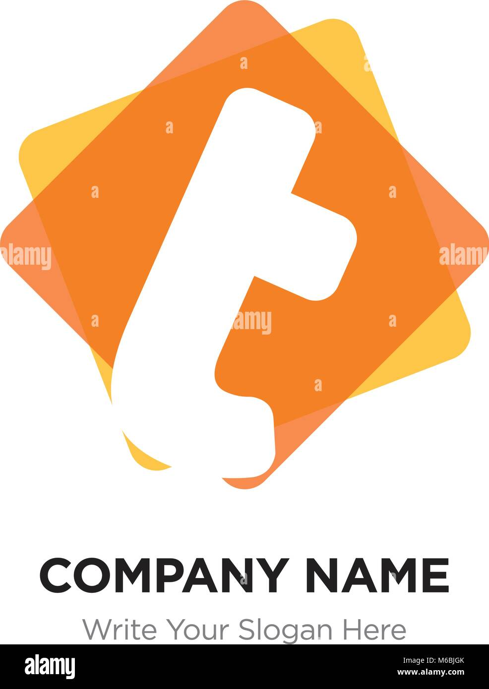 abstract letter t logo design template white vector icon on yellow background