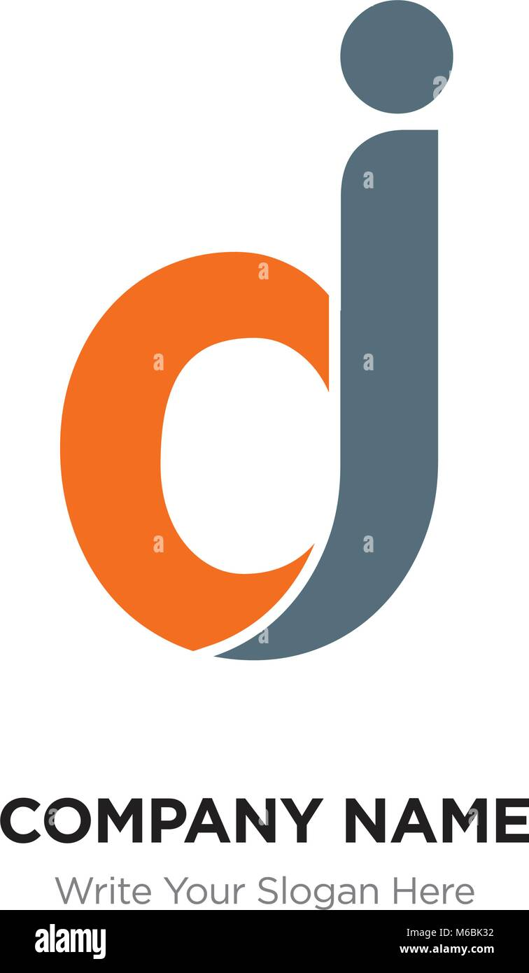 Abstract letter dj, jd logo design template, black & orange Alphabet ...